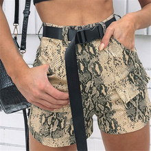 2019 Ins Summer Cotton Snake Print Cargo Belt Short