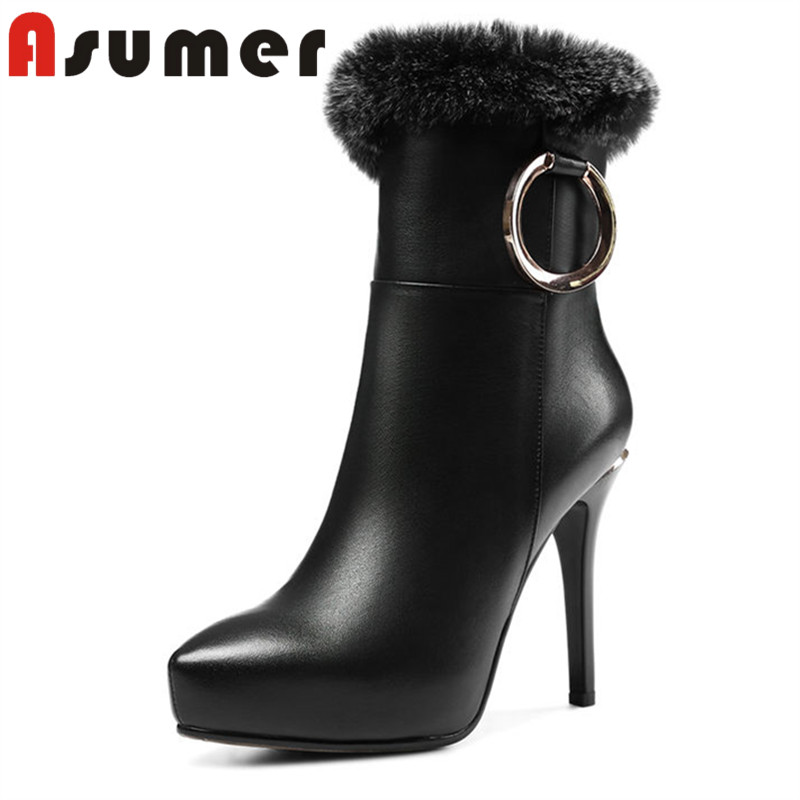 ASUMER 2018 NEW hot sale platfrom shoes solid ankle boots for women ture fur thin heels genuine leather boots size34-39ASUMER 2018 NEW hot sale platfrom shoes solid ankle boots for women ture fur thin heels genuine leather boots size34-39