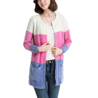 Women Casual Autumn Winter Warm Mohair Striped Patchwork Sweater Cardigan Ladies Crochet Pocket Sweater Cardigans Female