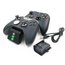 Şarj durum ekranı gamepad şarj istasyonu taban artı 2 şarj edilebilir pil paketleri için Xbox One/One S/One X