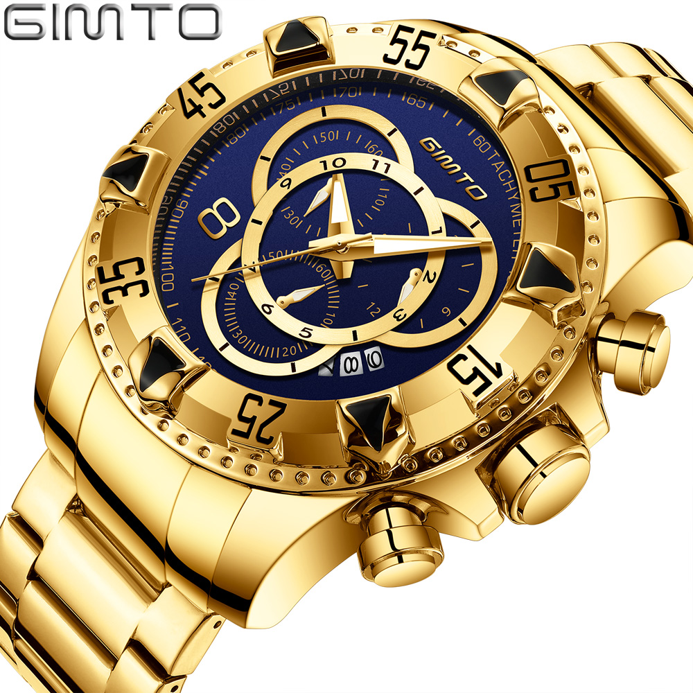 Top Brand Men Golden Watches Unique Blue Gold Watch for Men Waterproof Stainless Steel Sport Business Quartz Wristwatch GIMTO agentx brand auto day display rose gold stainless steel case tag heuerwatch wristwatch men business quartz men watch agx042