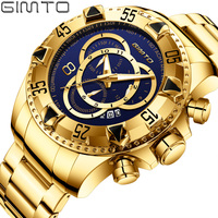 Top Brand Men Golden Watches Unique Blue Gold Watch for Men Waterproof Stainless Steel Sport Business Quartz Wristwatch GIMTO