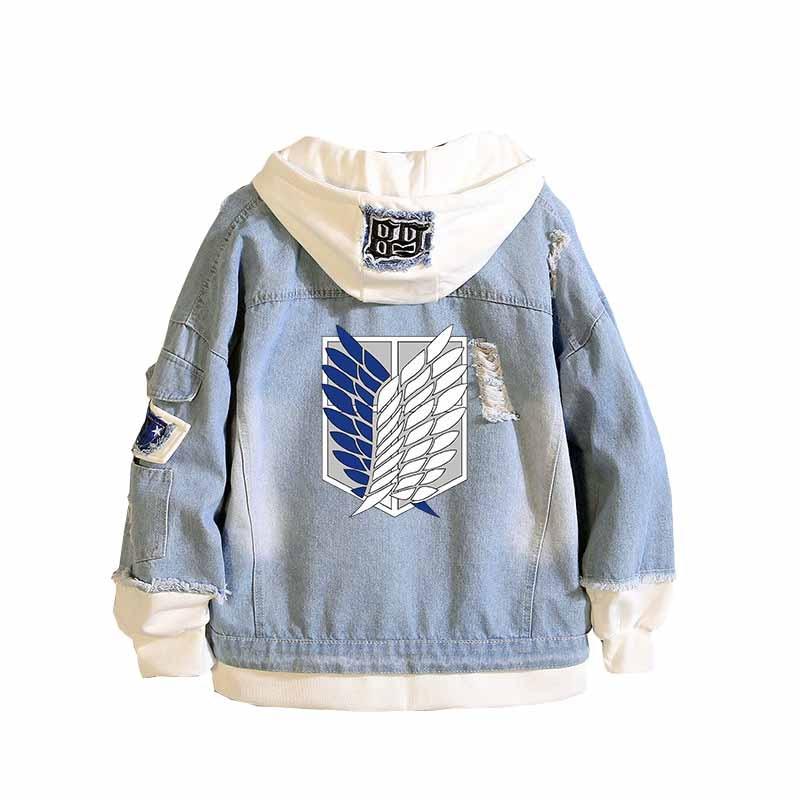 Anime Attack on Titan Unisex Streetwear Long Hooded Jeans Jacket Guilty Crown Death Note Harajuku Denim Patchwork Hoodies Coat