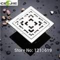 Newly US Free Shipping 3inch Bathroom Accessory Square Floor Drain Stainless Steel Brush Shower Waste Water Strainer