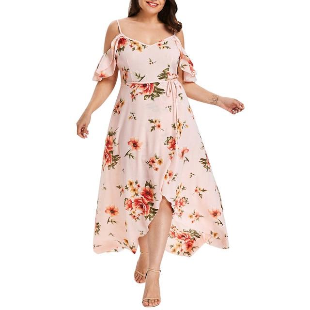 30h Plus Size Summer Dress Casual Short Sleeve Woman Dress Cold Shoulder Boho plus size Flower Print Long Dress платье robe 4