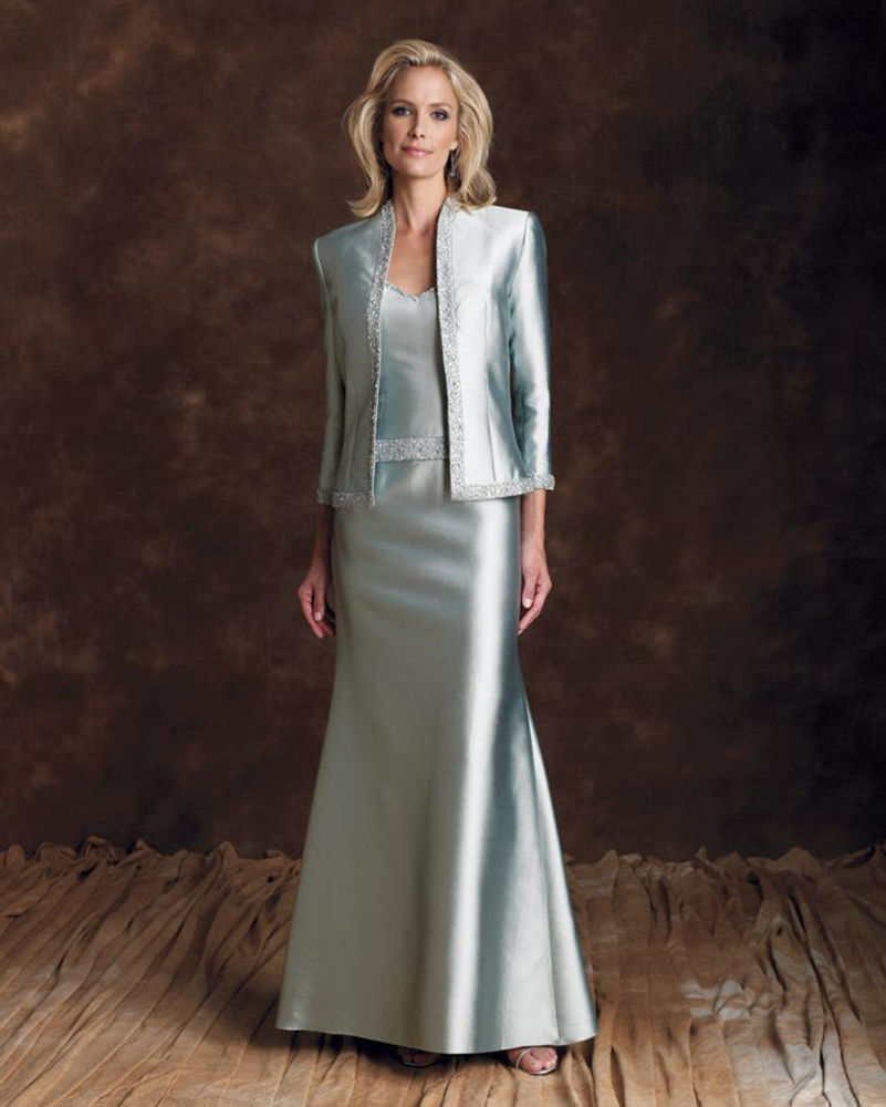 Wedding Gowns Mother Of The Bride: Taffeta Silver Long Mother Of The Bride Dress With 3/4