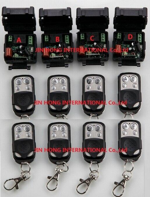 AC220V 1ch 10A обучения товара Беспроводной Дистанционное управление переключатель Системы teleswitch 4 приемника и 8 передатчика applicance двери гаража