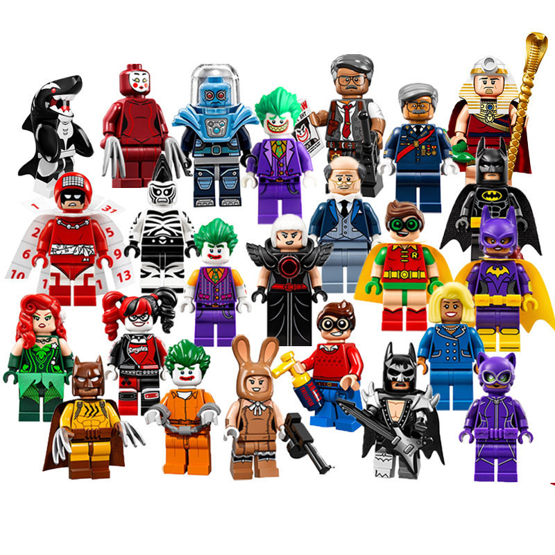 1pcs Super Heroes Harley Quinn Joker Batman Movie Catwoman Robin Poison Building Blocks Compatible With LegoINGly Batman loz mini blocks batman robin ironman thor loki harley quinn poison mini super hero bricks diy building blocks toys gift