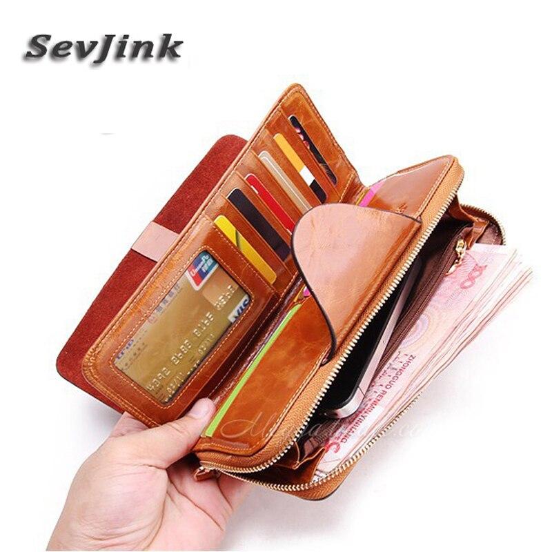2015 Vintage wallet genuine leather zipper long women lady purse fashion clutch women wallet holder card holder