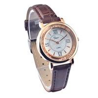 ? New Fashion Ladies Quartz Analog Watch Women Rhinestone Leather Band Geneva Wrist Watches 316L Steel Back Alloy Case