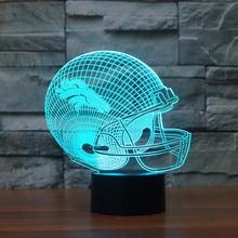 NFL Team Logo Light LED Denver Broncos Football Helmet Cap 7 Color Table Lamp 3D LED Night Light Christmas Gift for Children