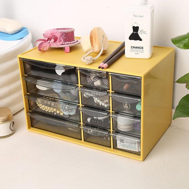 High Quality Fashion Desktop Storage Box With Drawer Office Stationery  Organizer Box Cosmetics Jewelry Storage Cabinet