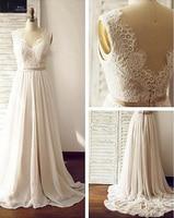 Simple Wedding Dress 2018 V Neck Appliques Lace Beach Dress Floor Length Chiffon Plus Size Wedding Gowns