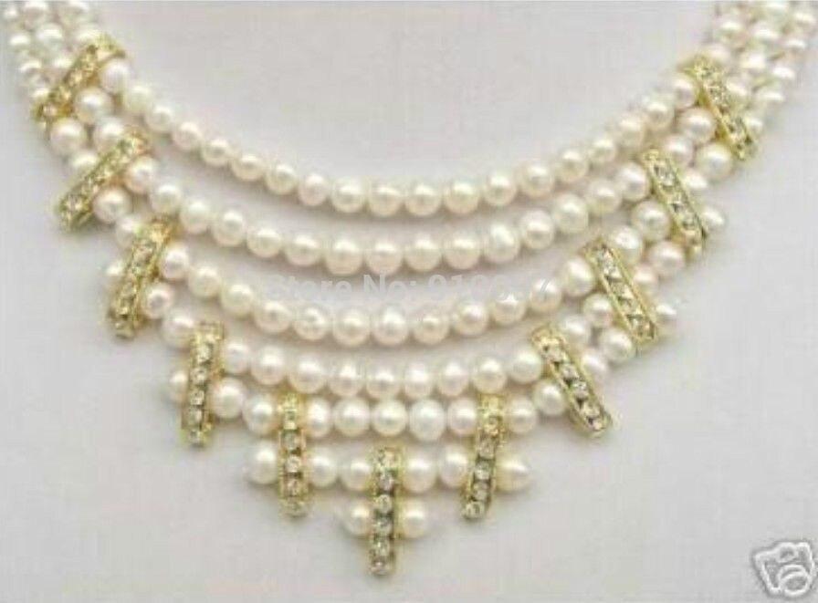 LHX54013>>> AA Superbe 3 Rangées 8 MM Blanc FW Collier de Perles
