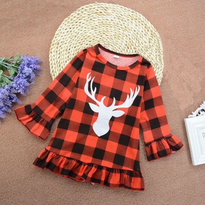 Vestido de las muchachas del bebé nuevo otoño bebé niña de manga larga vestido de patrón de las astas de Navidad vestido de algodón Niño vestido de verano de estilo princesa