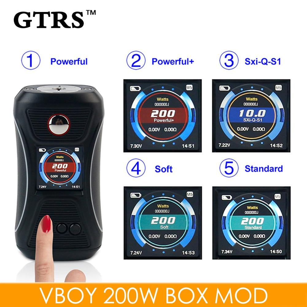 Original GTRS Vboy 200W TCR Box Mod VW Electronic Cigarette JTC Mod TFT IPS Screen Wallpaper Switchable Dual 18650 Vape E-cig