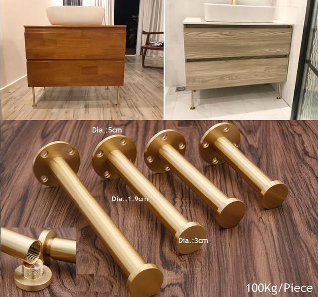 2Pcs/Lot Premintehdw Brass Gold Sofa Closet Cupboard Cabinet Leveler Leveling Feet Furniture Adjustable  Leg