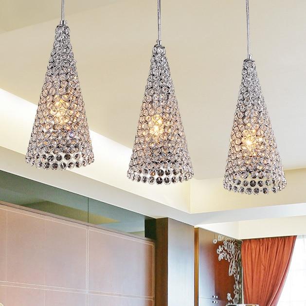 Modern 3 Crystal Horn Dining Room Pendant Light Oblong Top Base Restaurant Pendant Lamp Bar Counter Creative Pendant Lamp