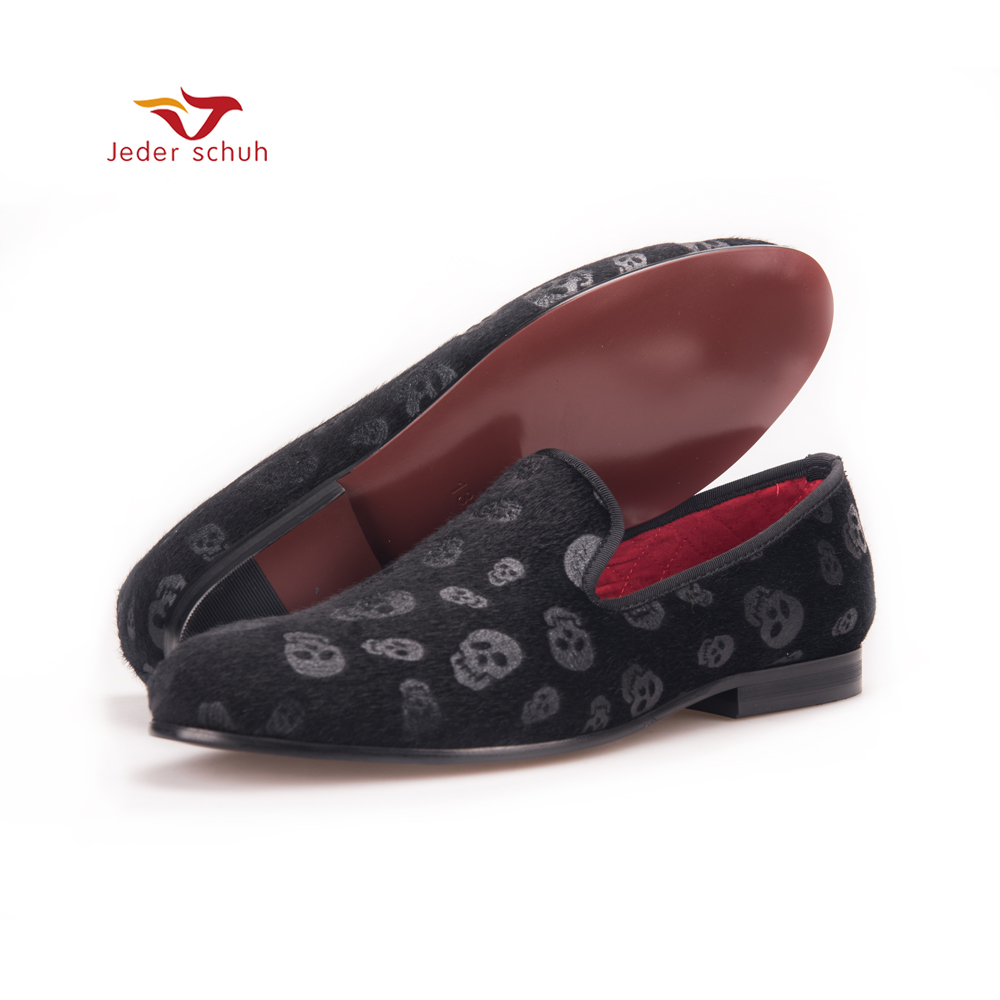 Men loafers Horsehair Skull Embossed Velvet Men Shoes Party and Prom Men Loafers Smoking Slipper Men Flats Size US 4-17 flower lattice velvet fabric men shoes men smoking slipper prom and banquet male loafers men flats size us 4 17 free shipping