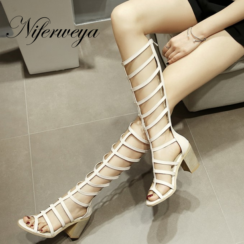 Summer women Knee-High boots big size 33-43 sexy Peep Toe high heel shoes fashion solid zipper Sandals zapatos mujer new 2016 fashion women winter shoes big size 33 47 solid pu leather lace up high heel ankle boots zapatos mujer mle f15