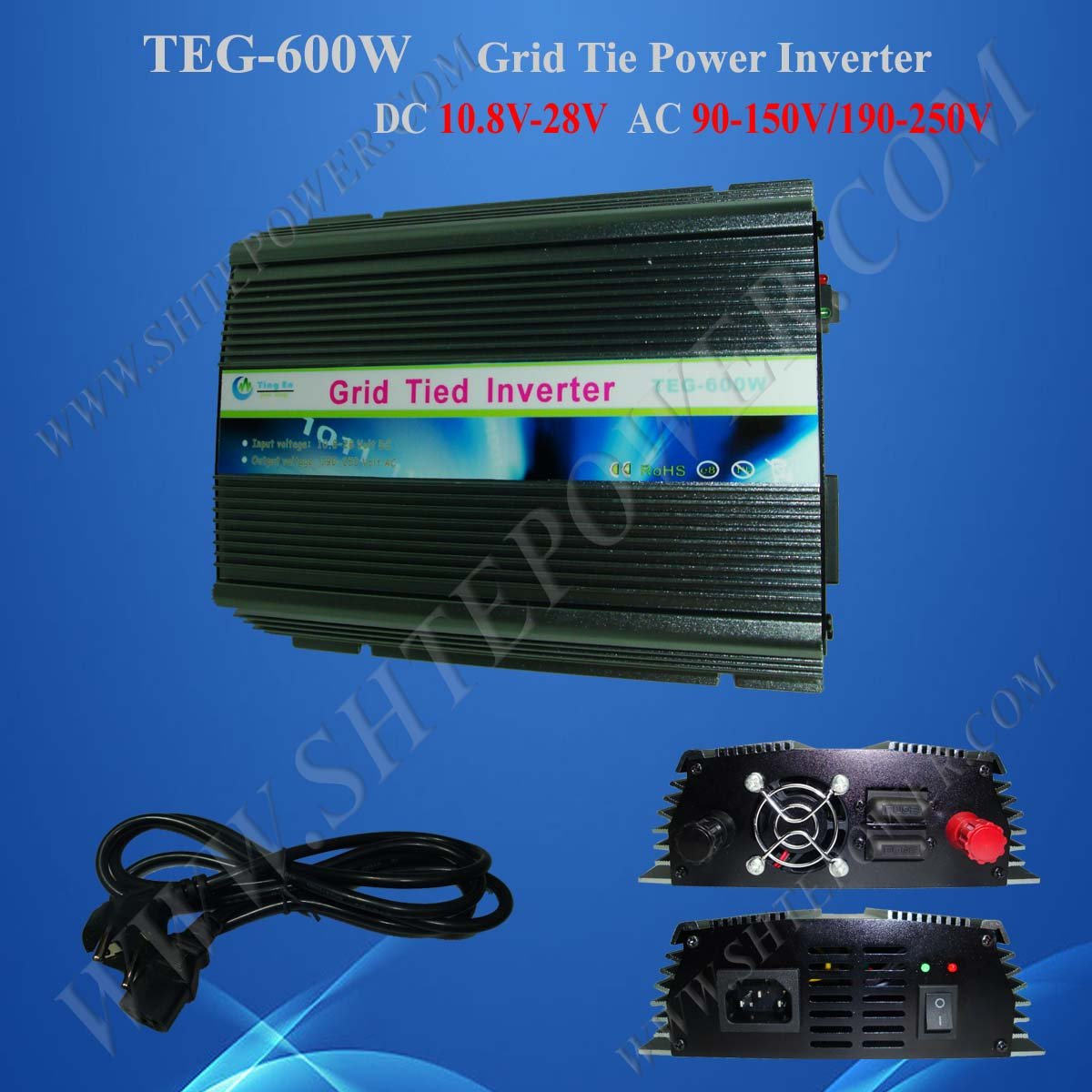 600W 10.8V-28VDC to 100V/110V/120V/220V/230V/240VAC On Grid Solar Inverter micro inverters on grid tie with mppt function 600w home solar system dc22 50v input to ac output for countries standard use