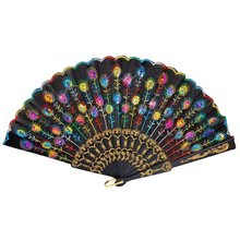 Hot Sale SODIAL(R) Colored Embroidered Flower Pattern Black Cloth Folding Hand Fan for Woman