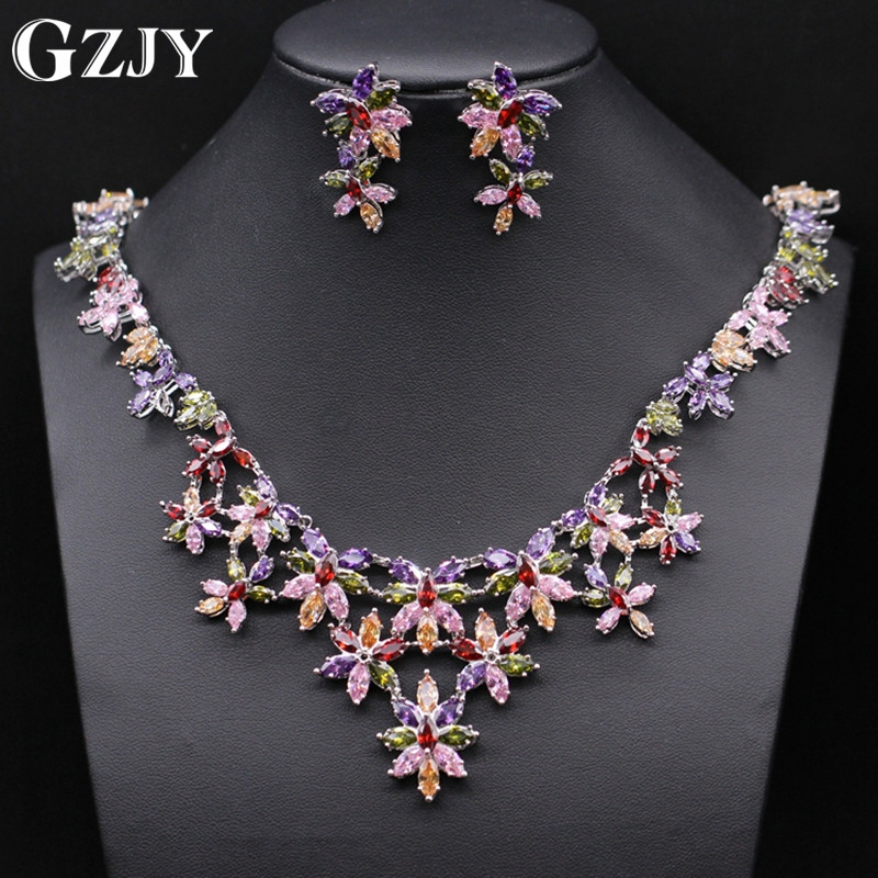 GZJY High Quality Luxury Bridal Colorful Cubic Zircon White Gold Color Flowers Necklace Earring Wedding Jewelry Set For Women tytw opal jewelry silver 925 colorful high quality female zircon lady jewelry simple earring wedding rhodium earrings for women