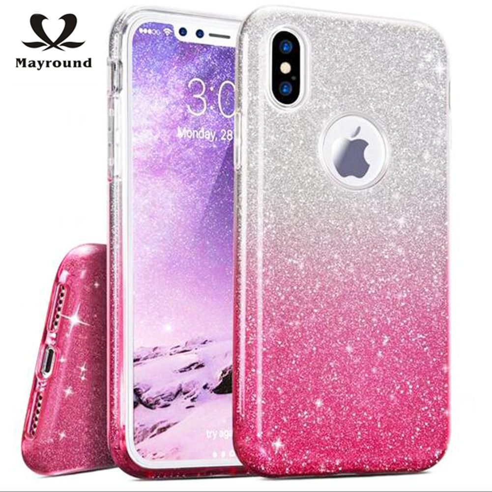 MAYROUND Glisten Shell For Apple iPhone 10 Ten X cases Exquisite Thin cover Twinkle Gradient Color Fundas Soft Transparent