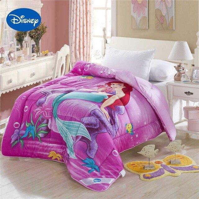 Princesse Petite Sirène édredons Disney Personnage Réactif Impression Coton  Couvre Filles Chambre Décor Unique Double Reine