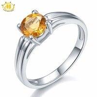Hutang 100% Naturalne Cytryn 6mm Kamień Pierścień Prawdziwa Czysta 925 Sterling Silver Proste Fine Jewelry Listopada Birthstone
