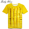 2016 Creative Short Sleeve Clothing Fashion 3D Maize Seed Pattern Youngster Tops Super Cool Unisex Teenager T-shirts tyh-60589
