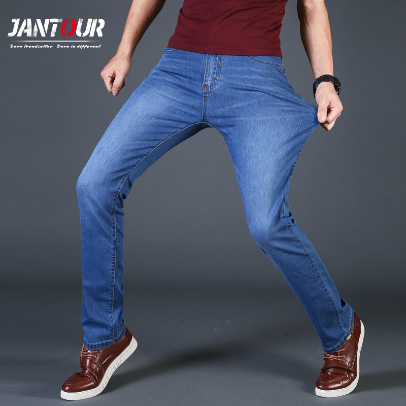 2018 Mens jeans New Fashion Male blue Casual Jeans Slim Straight High Elasticity Feet Loose Waist Long Trousers pants plus size