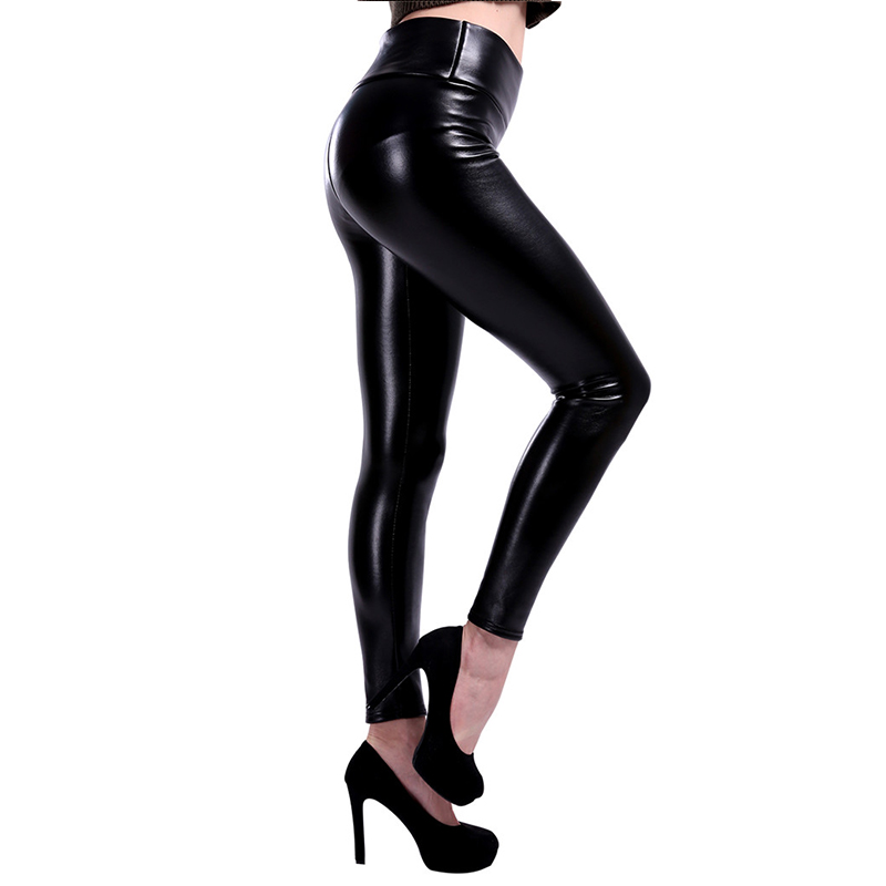 NORMOV S 5XL Plus Size Leather Leggings Women High Waist Leggings Stretch Slim Black Legging Fashion