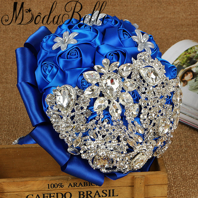 Modabelle royal blue wedding bouquets with crystal buques para modabelle royal blue wedding bouquets with crystal buques para casamento artificial black red white ivory bouquet mightylinksfo