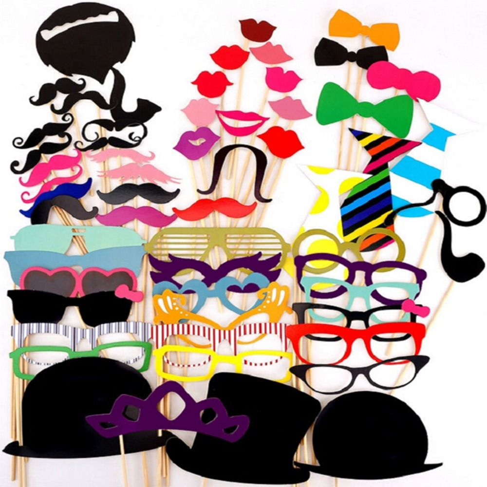 Photo Booth Props 60PCS Hat Mustache Party Masks Lips On A Stick Wedding Party Decoration Birthday