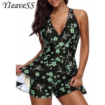 2019 Two Piece Plus Size Swimming Suit 5XL Loose Swimsuit Women's Bikini High Waist Trunks Tankini Bather Push Up Swimwear Dress