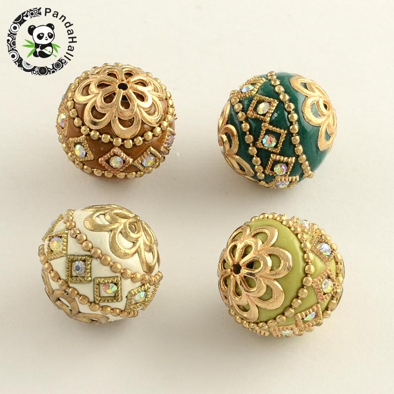 Round Handmade Rhinestone Indonesia Beads with Golden Tone Alloy Cores Mixed Color 19 21mm Hole 2mm