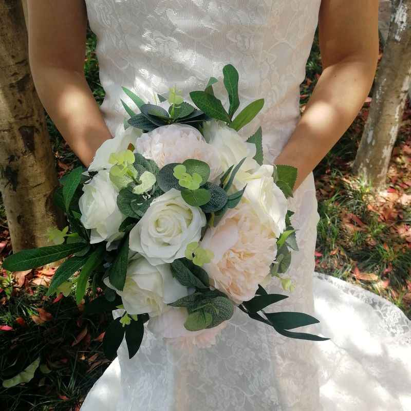 Ivory And Eucalyptus Bridal Bouquet Pink Peony Flower Silk Wedding
