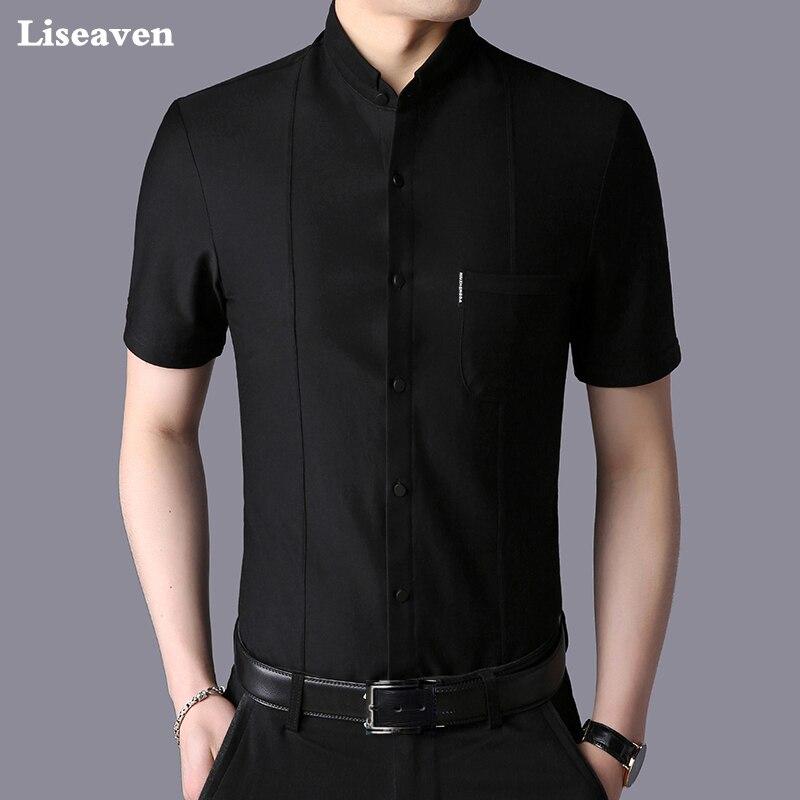 Liseaven Men's Shirt 2018 New Men Short Sleeve Casual Shirt Fashion Male Shirt Summer Style Solid Color Mens Clothing