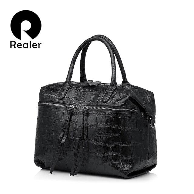 REALER Бренд женская сумка из натуральной кожи, женщины сумочку с каменный узором, простая маленький женская сумка бостон через плечо