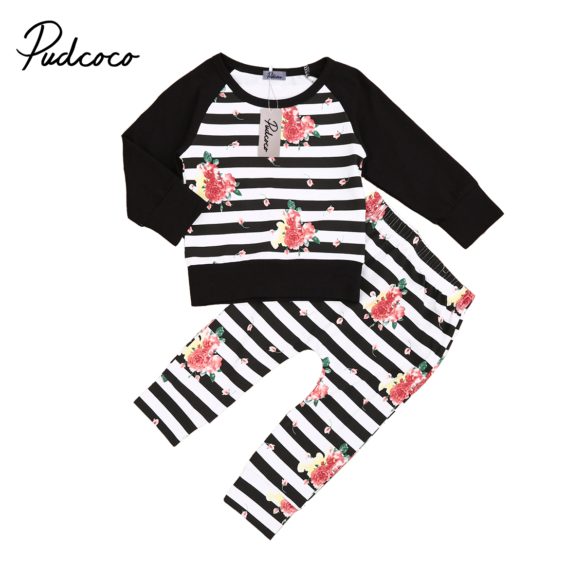 2018 Newborn Baby Girl Floral Clothes Baby Girl Striped T-shirt Tops+Long Pants 2pcs Outfits Set 3-18M