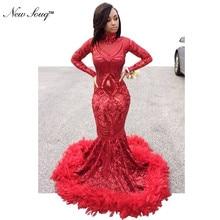 Luxury Feather Red Sequin Evening Dress Long Sleeve Islamic Dubai Kaftan African Prom Dresses Vestido De Festa Muslim Party Gown