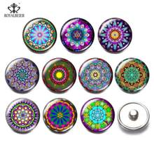 10pcs/lot 18mm Snap Button Jewelry Snap-on Lace Mandala Abstract Art Glass Buckle Fit Snap Bracelet Snaps Jewelry Custom Snap(China)