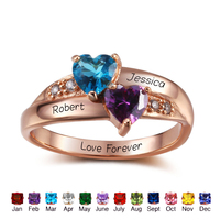 Promise Rings For Her Personalized Birthstone 925 Sterling Silver Cubic Zirconia Ring DIY Names Heart Lover