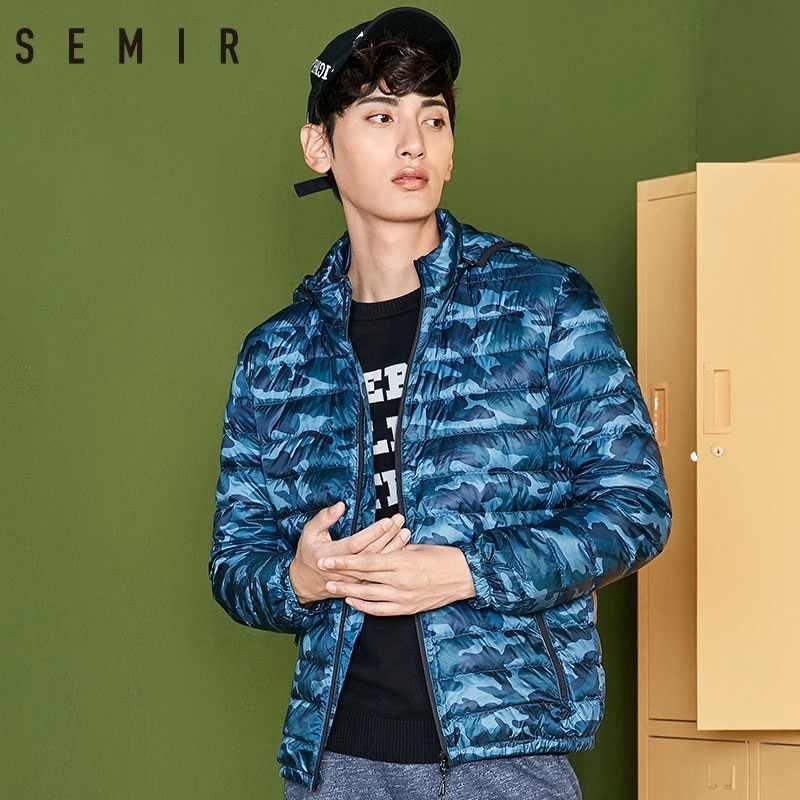 SEMIR Легкая стеганая куртка мужская зимняя Корейская версия Короткий Красивый Камуфляжный пуховик Короткая тонкая легкая мужская верхняя одежда