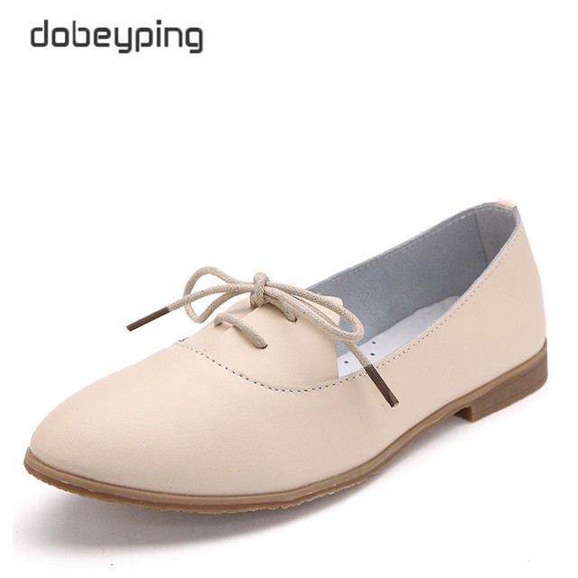6d2052dcb23 New Casual Ballet Shoes Woman Soft Genuine Leather Women s Loafers Lace-Up  Woman Flats Shoe Flexible Footwear Large Size 35-40