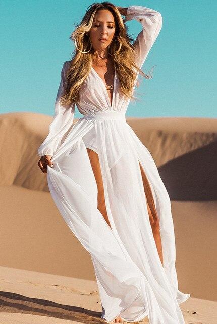 8f846538c9184 2018 White Chiffon Bikini Cover Ups Beach Tunic Sexy Deep V Sarong Robe de  Plage Beachwear Kaftans Womens Long Beach Dress
