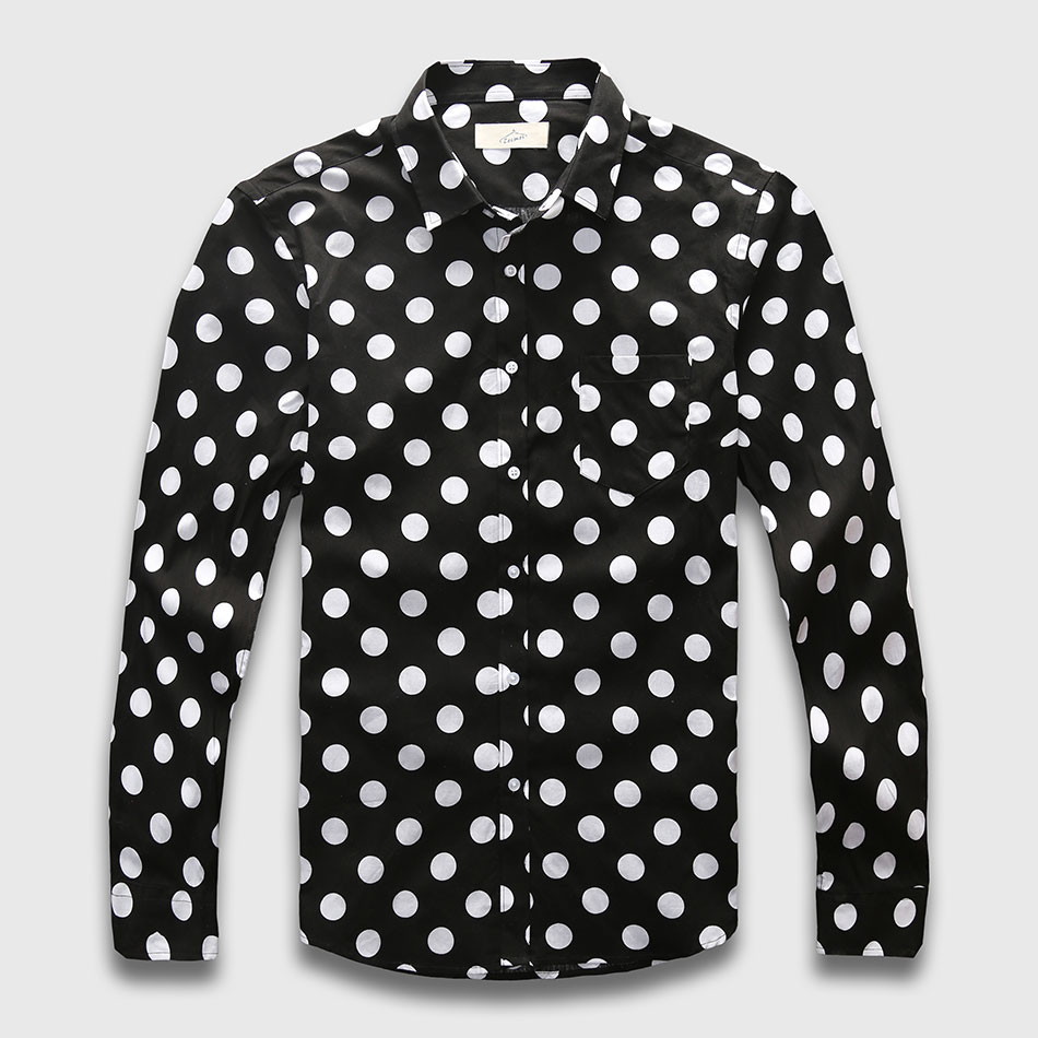 Blue polka dots or black polka dot mens shirt with white dots is normally the classic, but you could also go for a blue polka dot shirt and a white polka dot shirt to add a little substance to your wardrobe.