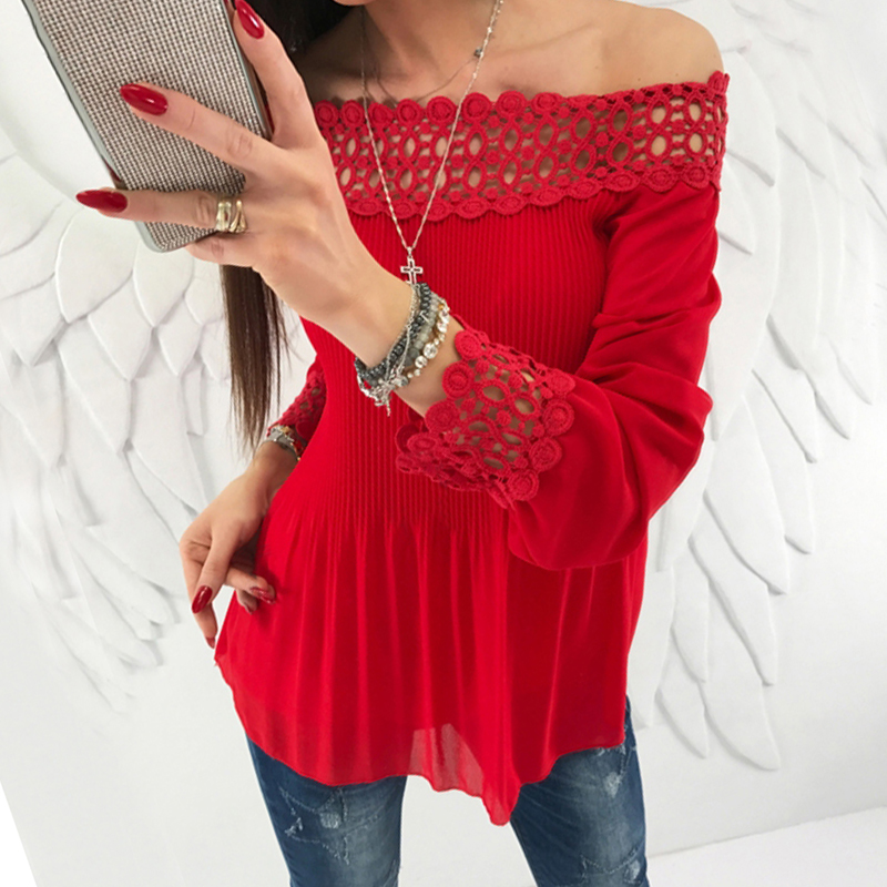 Women   blouse     shirts   Long Sleeve Pleated Sexy Off Shoulder   blouses   Hollow Out Lace women   Shirts   Tops Blusas WS5659M