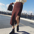 Autumn Winter Women Sexy Long Elegant Vintage skirt Wine Red Mid-calf Coffee Tight Skater lolita Bodycon Skirt Saia longa Jupe
